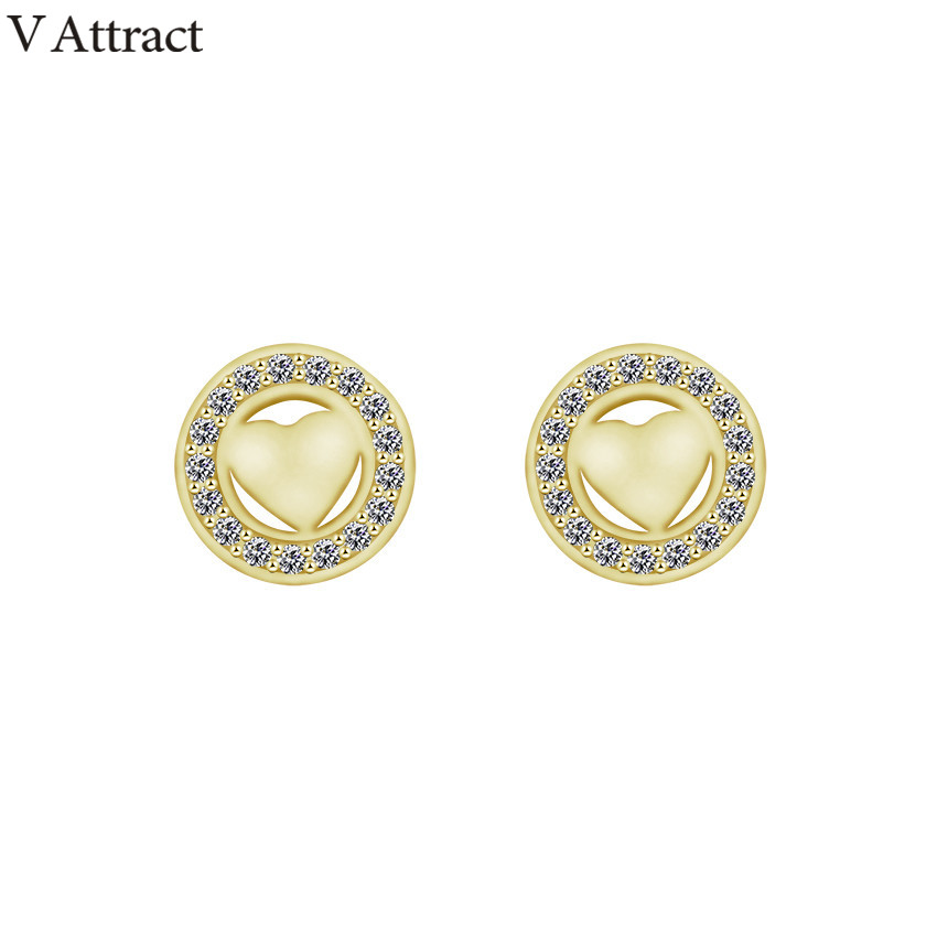 V Attract Geometry CZ Circle Charm Boucles D&39;oreilles 2018 Vintage Jewelry Heart Statement Stud Earrings Femme Christmas Gift