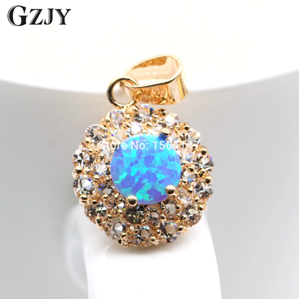 GZJY 2017 Fashion Blue Fire Opal Cubic Zirconia Engagement Jewelry For Women Gold Color Pendant Necklace