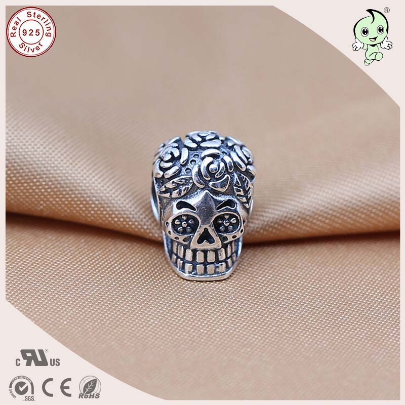 Hot Sale Cool Pirate Style 925 Sterling Silver Skull Charm Fitting European Famous Silver Bracelet