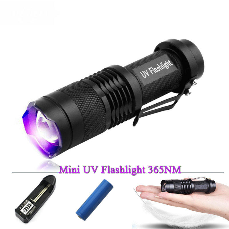 Mini blacklight ışık 365nm 395nm UV Lambası uv el feneri led cree q5 penlight Floresan ajan algılama