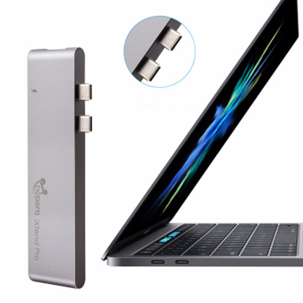 Alüminyum Hub 3.0 7-In-1 Multi-port Tipi-C Hub Adaptörü Dongle Için MacBook Pro /2017 13 & 15 4 K HDMI 3 USB-C USB 3.0 SD/TF