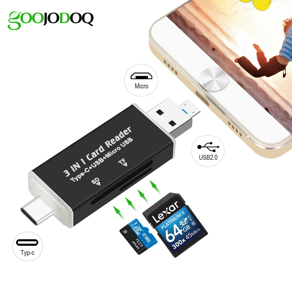 3 in1 USB C OTG Hub Kart Okuyucu, tip C/Mikro USB/USB Micro SD TF Kart Okuyucu için Macbook Android Telefon PC Laptop USB-C